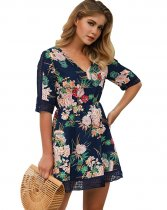 Short A-Line Flower Dress with Hollow Out Details