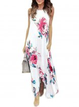 Sleeveless Long Floral Dress with Irregular Hem