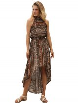 High Low Retro Maxi Dress with Scoop Neckline