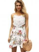 Short Straps Flower Dress with Crochet Details