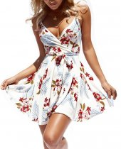 Floral White Straps A-Line Resort Dress