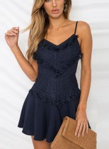 Royal Blue Tassels Straps A-Line Dress