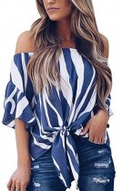 Off Shoulder Strippes Top with Ruffle Cuffs