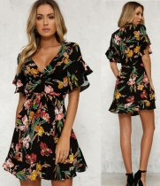 Floral Black V-Neck Resort Dress