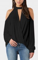 Open Shoulder Long Sleeve Sexy Wrapped Blouse