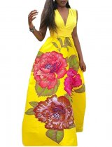 Deep-V Sexy Sleeveless Flower Maxi Dress