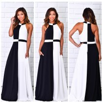 White and Black Scoop Maxi Dress