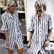 Striped Button Up Short Sleeve Shirt
