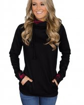 Long Sleeve Black Hoody with Pockets