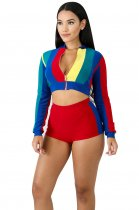 Block Color Crop Jacket and Shorts