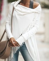Plain Tassels Wrap Top with Irregular Hem