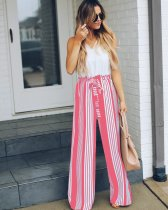 Loose-fitting Strippes Trousers with Ruffle Trim