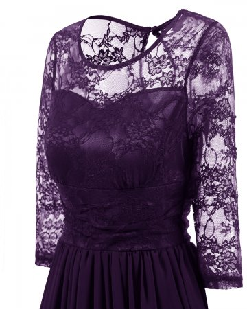 Lace Upper Long Skater Dress with Mid Sleeves 27633-2