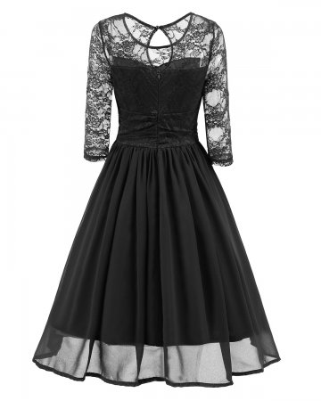 Lace Upper Long Skater Dress with Mid Sleeves 27633-1