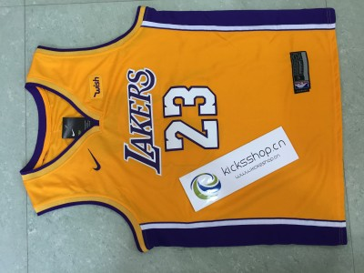 Los Angeles Lakers #23 LeBron James Yellow Stitched NBA Jersey