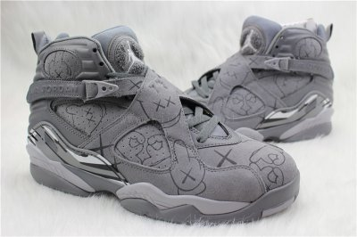 Authentic Air Jordan 8s x KAWS Cool Grey