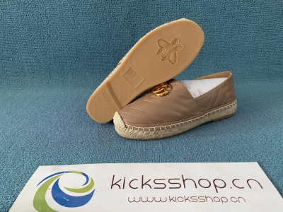 Online Exclusive chevron raffia espadrille with Double G