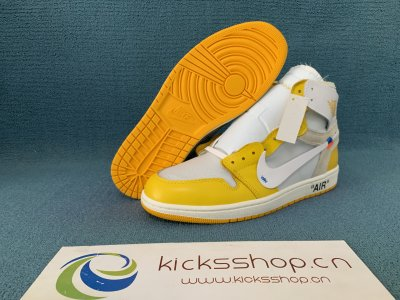 "Authentic OFF-WHITE x Air Jordan 1 ""Sample Yellow"""