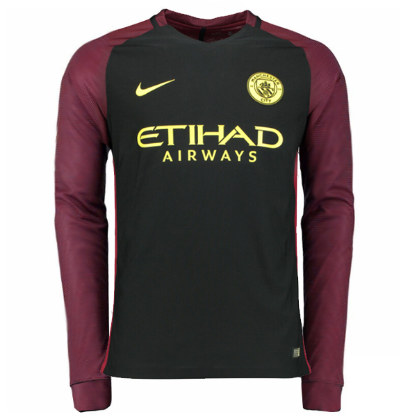 Premier League Manchester City Away Black Long Sleeve Soccer Jersey  2016 2017 Season Thailand Qualiy Man Size ded30bc49cc3