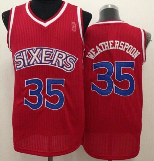 philadelphia 76ers 35 clarence weatherspoon red throwback stitched nba jersey. loading zoom