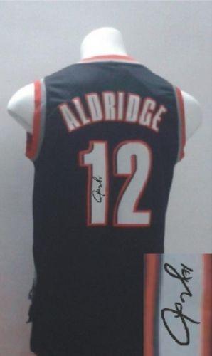 buy popular 2f459 e5090 Revolution 30 Autographed Portland Trail Blazers  12 Lamarcus Aldridge  Black Stitched NBA Jersey. Loading zoom