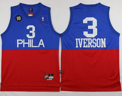 b3fc5d09c89 Philadelphia 76ers  3 Allen Iverson Red Blue Nike Throwback Stitched NBA  Jersey. Loading zoom