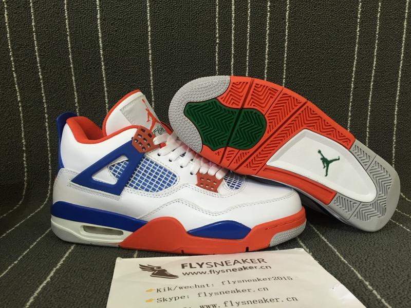 pretty nice 65267 79748 Authentic Jordan 4s White/Blue/Orange