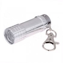 Portable 3-LED Mini Flashlight Keychain - Silver