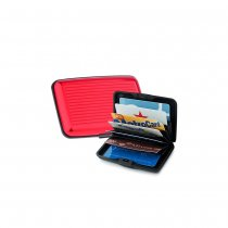 Business ID Credit Card Wallet Holder Case  Waterproof Aluminum Metal- Red