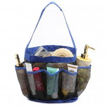 8 Pockets Full Mesh Shower Caddy Storage Bag Quick Dry Shower Tote Bath Organizer - Blue