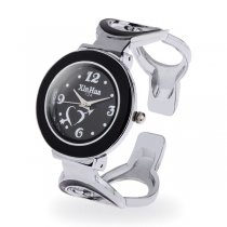 Women Bracelet Watch Round Dial Hollow Alloy Band White + White