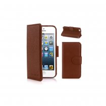 Stylish PU Leather Flip Protective Case w/Strap and Card Slot  - Brown