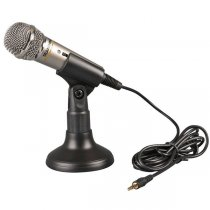 Metal Miniature Multimedia Flexible Microphone with Plastic Stand for PC Laptop - Silver+ Black