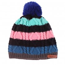 Children Winter Colorful Stripe Fleece Knitted Crochet Hat Cap Beanie 2-10 Years Old - Ming Blue