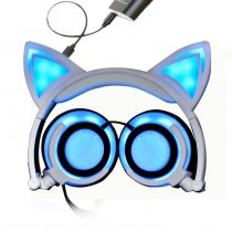 Foldable LED Flashing Cat Ear Headset 3.5mm Wire Over Ear Music Headphone for Phone Laptop PC