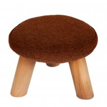 Lovely Mushroom Fabric Change Stool Living Room Solid Wood Sofa Stool(Round Stool) - Coffee
