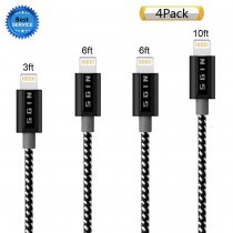 iPhone Cable SGIN,4Pack 3FT 6FT 6FT 10FT Nylon Braided Cord Lightning Cable Certified to USB Charging Charger for iPhone 7,7 Plus,6S,6 Plus,SE,5S,5,iPad,iPod Nano 7 - Black White