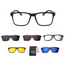 Mens Retro Magnet Frame Eyeglasses Set With Five UV400 Polarized Sunglasses Lens