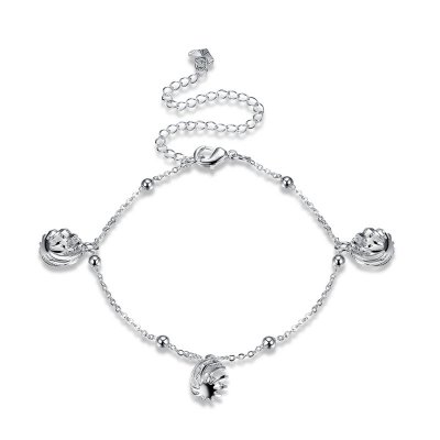 Silver Plated Lantern Hollow Spiral Ball Pendant Anklet Foot Chain