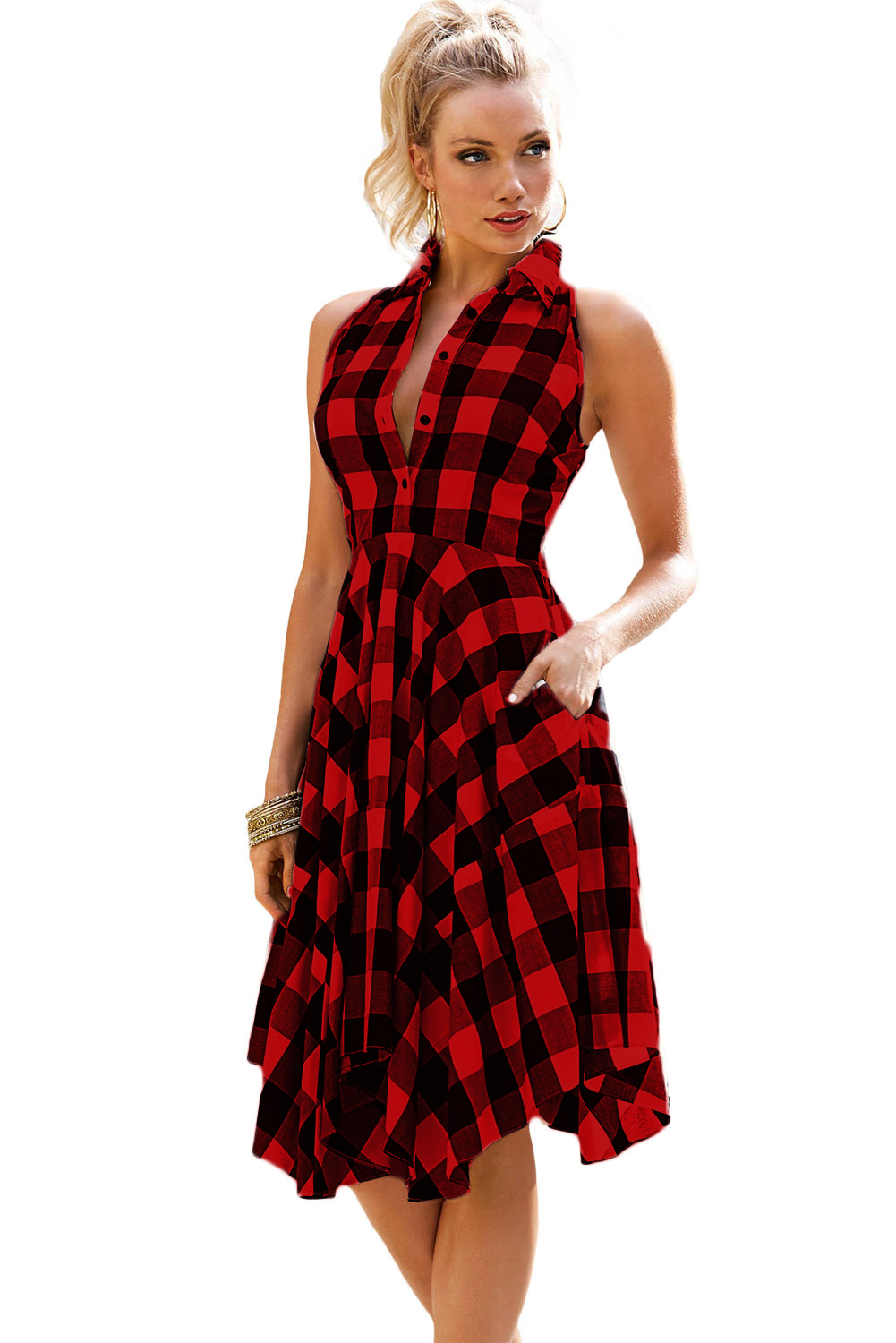US$22.25 Zkess Red Black Denim Checks Flared Shirtdress