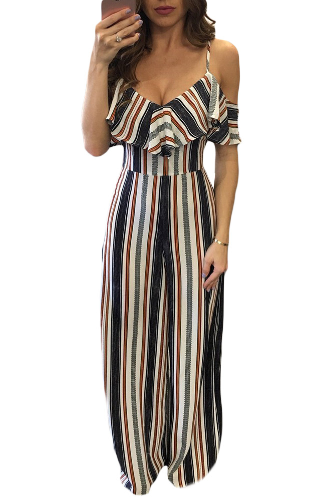 Us3025 Zkess Multicolor Stripes Frill Cold Shoulder Jumpsuit
