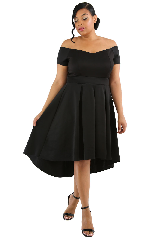 Us2775 Zkess Black Plus Size Off Shoulder Swing Dress