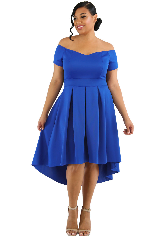 Blue Plus Size Off Shoulder Swing Dress