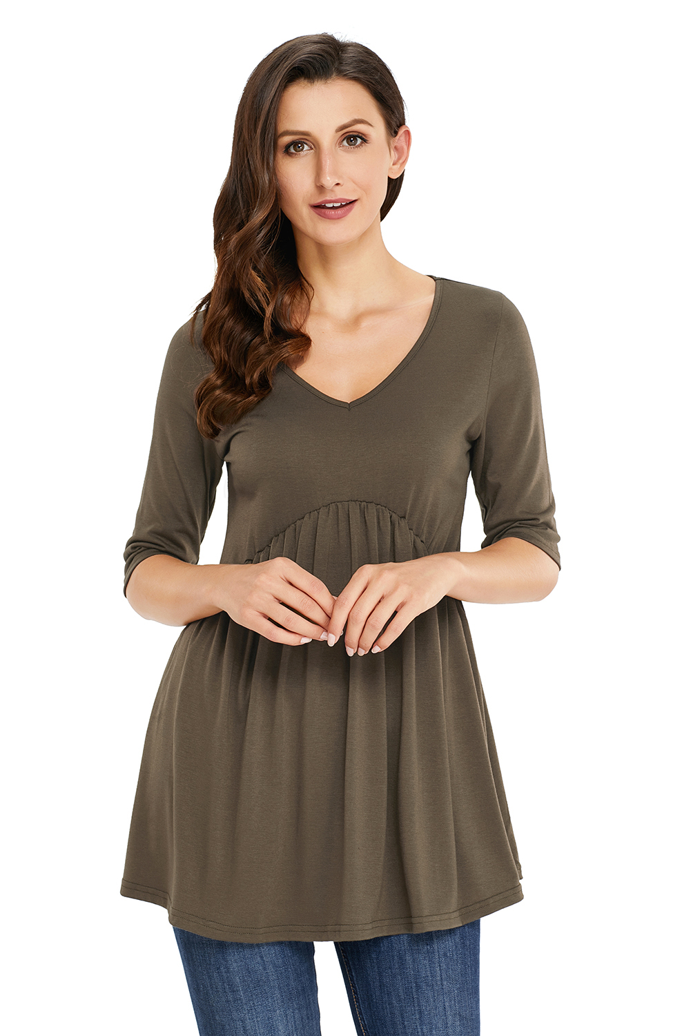 Us215 Zkess Army Green 34 Sleeve Babydoll Tops