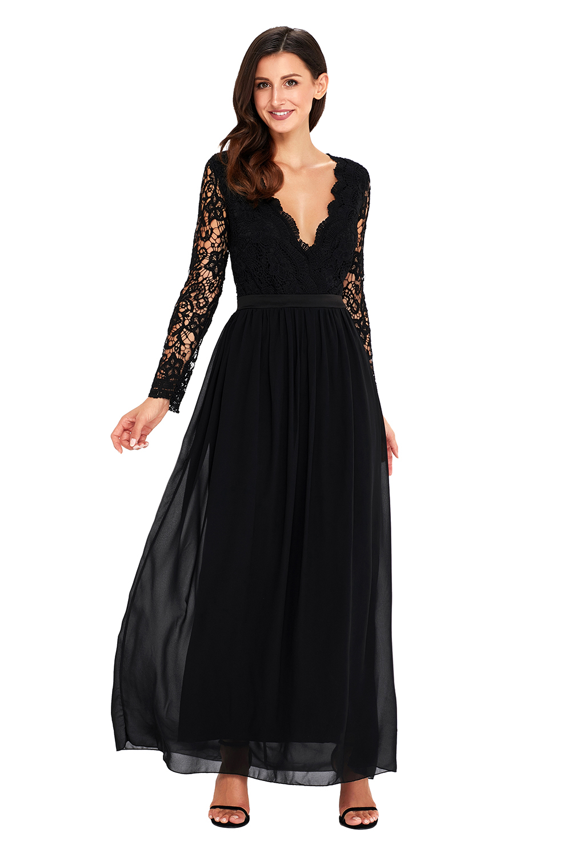 US$34.5 Zkess Black Open Back Long Sleeve Crochet Maxi Party Dress