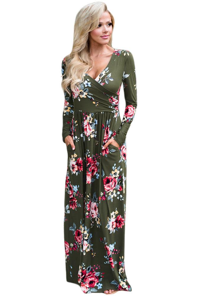 US$30.75 Zkess Olive Floral Surplice Long Sleeve Maxi Boho Dress