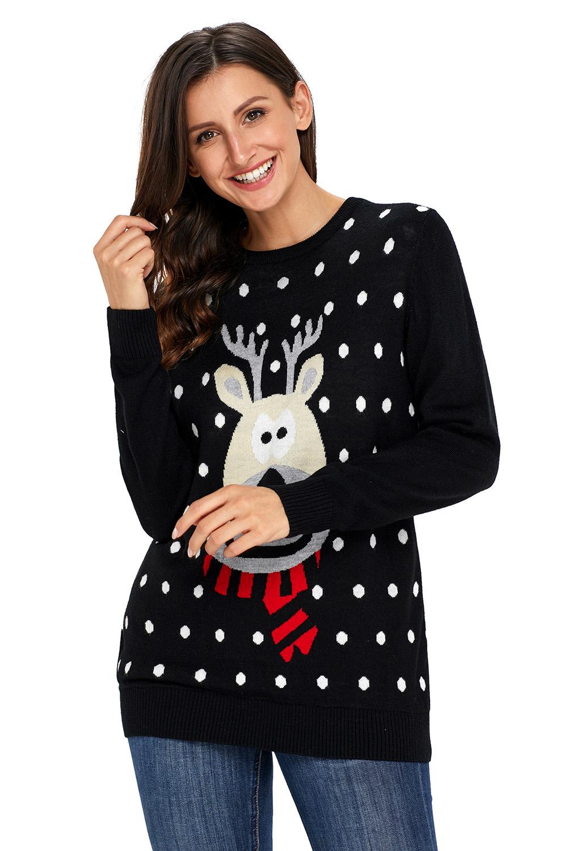 us3175 zkess black christmas reindeer sweater - Black Christmas Sweater
