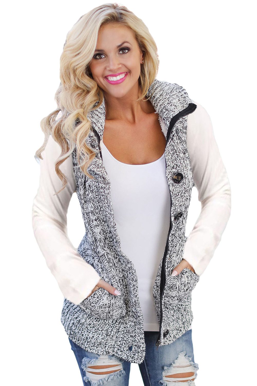 US$40.45 Zkess Heather Grey Cable Knit Hooded Sweater Vest