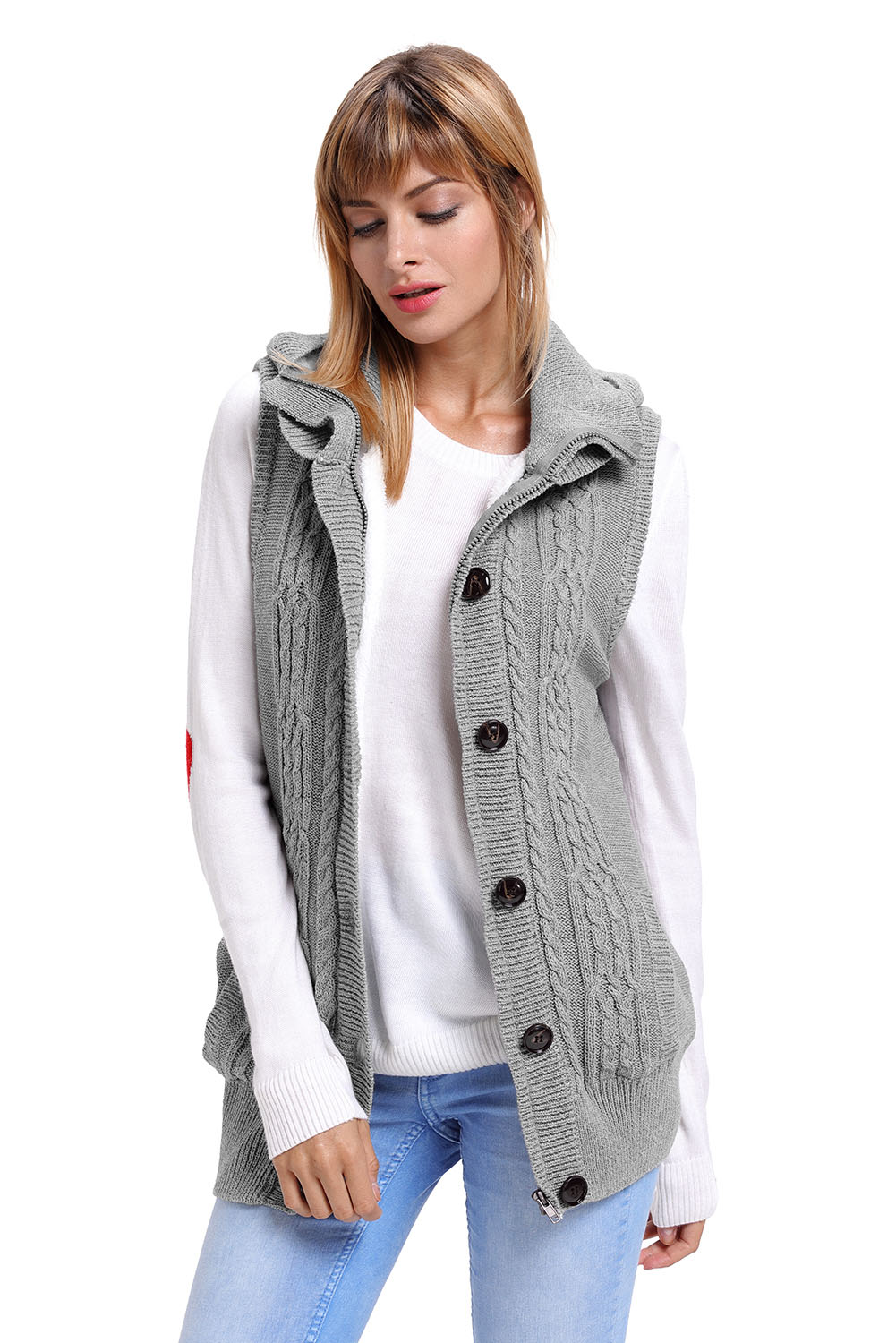 Us4045 Zkess Grey Cable Knit Hooded Sweater Vest