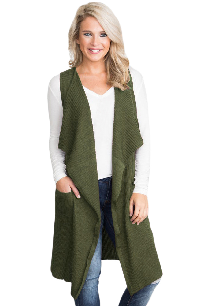 US$34 Zkess Army Green Pocket Long Cardigan Vest